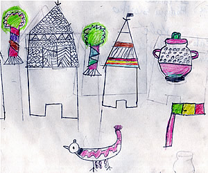 Artwork by 3rd grade student at the Kabe Elementary School in Kabe, Mali.